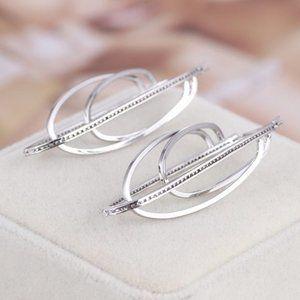 Henri Bendel Zircon Silver Staggered Earrings